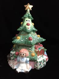 Atlantic Mold Ceramic Christmas Tree History by Vintage 7 Cookie Jar Canister Off White Pink Pig Figurine On Top