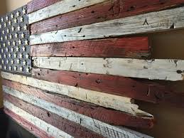 Wooden Flag Barn Wood Rustic American