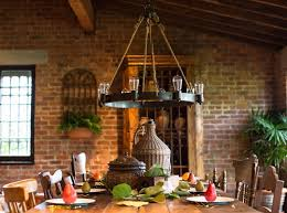 Home Lighting Ideas Rustic Decor Brick Wall Chandelier
