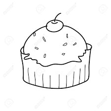 cup cake sketch in black and white style free hand drawing Stock Vector