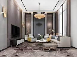 3d rendering klassische luxus wohnzimmer lobby lounge mit