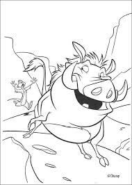 Timon Chasing Pumbaa Coloring Page