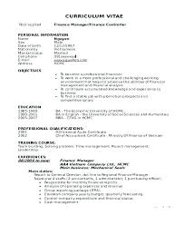 Resume Finance Manager Supervisor Retail Examples Samples Financial Format