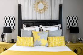 White And Black Bedding by Cool And Elegant Grey And Yellow Bedroom For Sweet Home