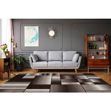 teppich modern patchwork kasten muster wohnzimmer braun beige schwarz 80cm x 150cm