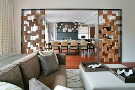 Contemporary Living Room Divider With Beige Curtain