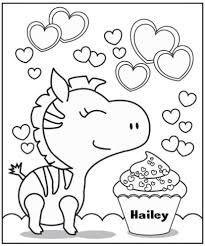 Free VALENTINES ZEBRA COLORING PAGE