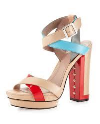 vince camuto pamir colorblock thick heel platform sandal in blue