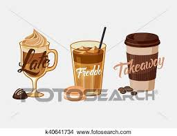 Clipart Of Iced Coffee Latte Or Mocha And Freddo Cup Sleeve