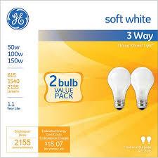ge soft white 3 way 50 100 150 watt a21 incandescent 2 pack