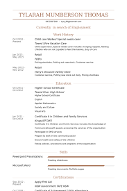 Child Care Worker Special Needs Carer Resume Example