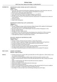 Quality Assurance Senior Manager Resume Sample