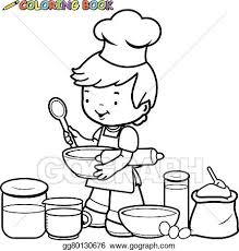 Vector Illustration Vector illustration of a black and white outline image of a little boy holding kitchen utensils and preparing to cook in the kitchen