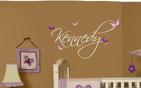 Girls Bedroom Wall Decor by Butterfly Name Baby Wall Decal Nursery Decor Vinyl