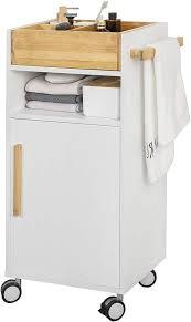 sobuy bzr32 w badezimmerschrank badschrank badrollwagen mit tür und fächern kommode fürs bad