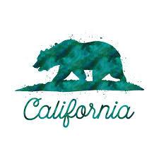 Green Watercolor California State Flag Bear