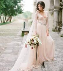 Discount Blush Pink Bohemian Wedding Dresses With Lace Long Sleeves Deep V Neck Beaded Sash Flowing Soft Tulle Rustic Beach Bridal Gowns Online