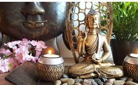 lb h f dekotablett buddha statue gold teelichthalter mit