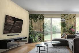 casa padrino luxus vorhang set dschungel tiger mehrfarbig 250 x h 290 cm bedruckte leinen samt vorhänge ösenvorhänge schiebevorhänge