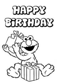 Happy Birthday From Elmo Sesame Street Coloring Picture