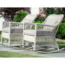 Leisure Made Pearson Antique White Wicker Outdoor Rocking Chair With Tan  Cushions (2-Pack)