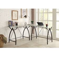 l shaped black frosted glass metal corner desk free shipping