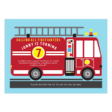 Fire Truck Birthday Party Invitations Engine Free Envelopes Online ...
