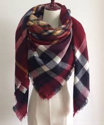 burgundy red navy blue and white plaid blanket scarf fall and