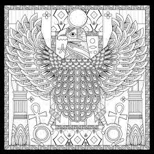 Free Coloring Page Adult Egypt Eagle Egyptian Style With