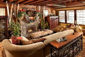 Comfortable Rustic Living Room Design Interior Decorated With Small Stone Fireplace Mantels Christmas Decoration Ideas Photos Gallery