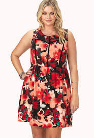 forever 21 watercolor floral fit u0026 flare dress in red lyst