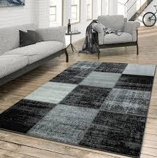 details zu teppich wohnzimmer modern kariert meliert schwarz weiß grau