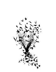 Birds Flying From Tree Tattoo Bat On