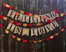 Falling In Love Burlap Banner Rustic Wedding Bridal Shower Engagement Party Baby