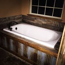 Galvanized Horse Trough Bathtub by Our Rustic Bath Tub Metal Tin In Front With Barn Wood Tile