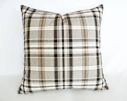Tan Plaid Pillow Decorative Throw Brown Black Cream Cushion Covers Woodland