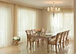 Designs IdeasElegant Dining Room With White Sheer Curtain Plus Modern Table And