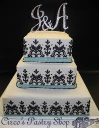 Damask Black White and Tiffany Blue Wedding