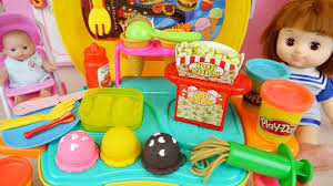 Baby doll and Play Doh cooking toys baby Doli kitchen play – USA