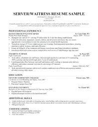 Hostess Resume Example Professional Waitress Restaurant Sample
