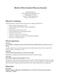 Medical Assistant Resume Objective Examples Entry Level Awesome Objectives Administrative Mycola Info