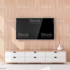 smart tvmockup hängen die holzwand wohnzimmer stockfoto und mehr bilder architektur