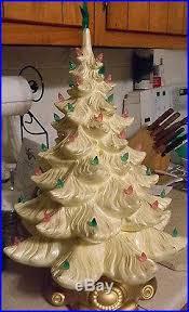 Vintage Atlantic Mold Ceramic Christmas Tree by 1973 Atlantic Mold 22 White Ceramic Christmas Tree 3 Piece