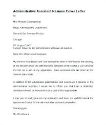Administrative Assistant Cover Letters Samples Resume Letter For Admin