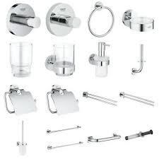 grohe essentials bad accessoires luxus chrom halter kleben bohren bad zubehör ebay