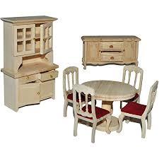 7 tlg set speisezimmer eßzimmer aus hellem natur holz miniatur schrank 4 stühle tisch kommode puppenstubenmöbel für puppenstube