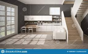 minimalistisch moderne kã che in weiãÿ grau und holz in