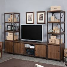 Townsend Rustic Wood And Iron TV Stand And Media Towers