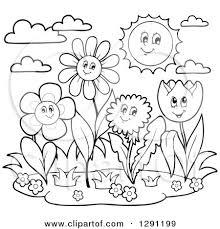 Garden Black And White Clipart for Flower Garden Clipart Black And White 3351