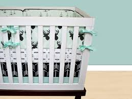 Woodland Themed Nursery Bedding by Deer Crib Bedding Baby Boy Bedding Cribset Mint Black And